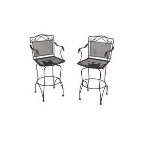 Black Wrought Iron Patio Swivel Bar Chair 2 Pack W3929 BAR BK At The Home  Depot