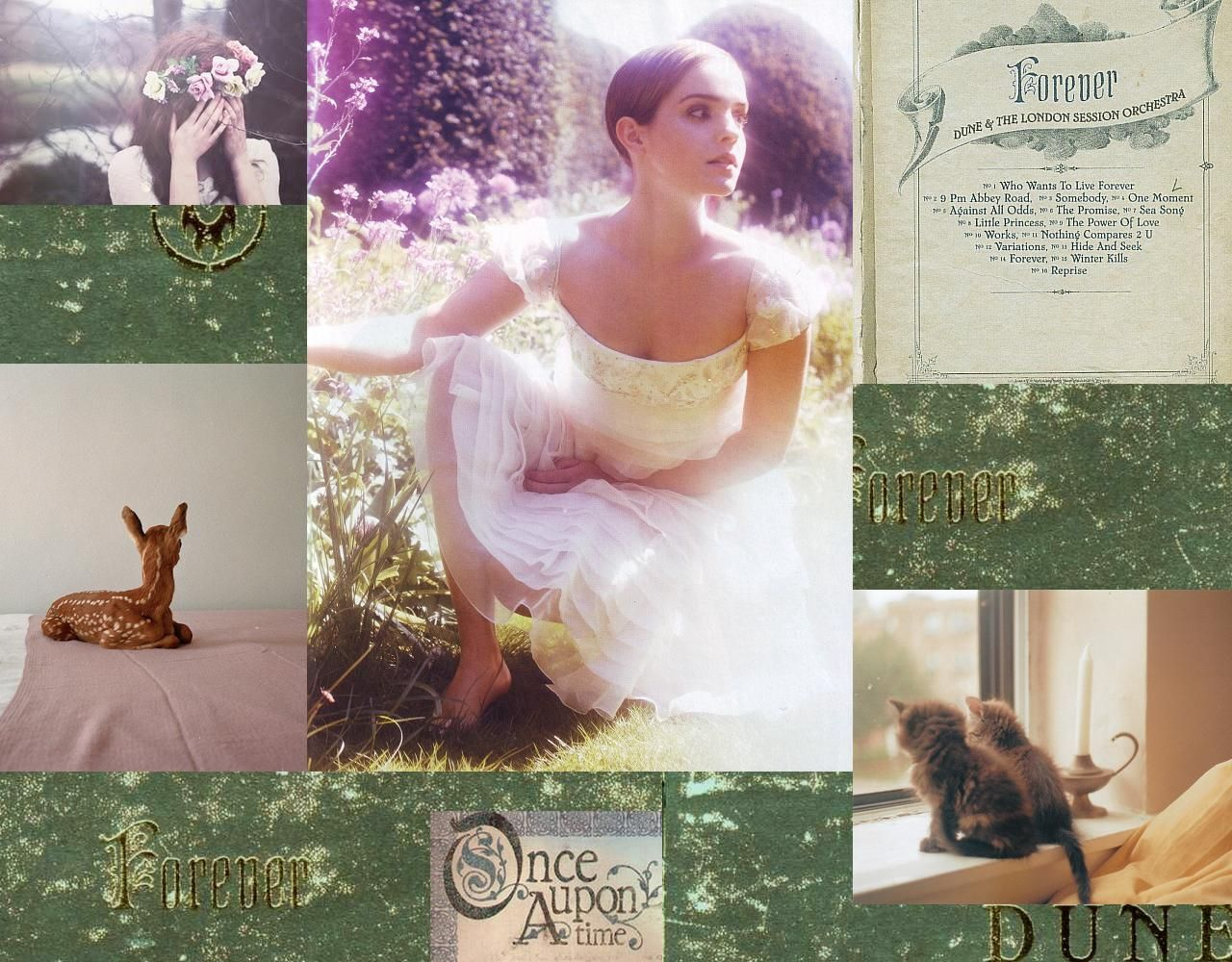 moodboard mywall desktop wallpaper forever dune fairy fawn once upon a time emma watson green pastel light cats roses