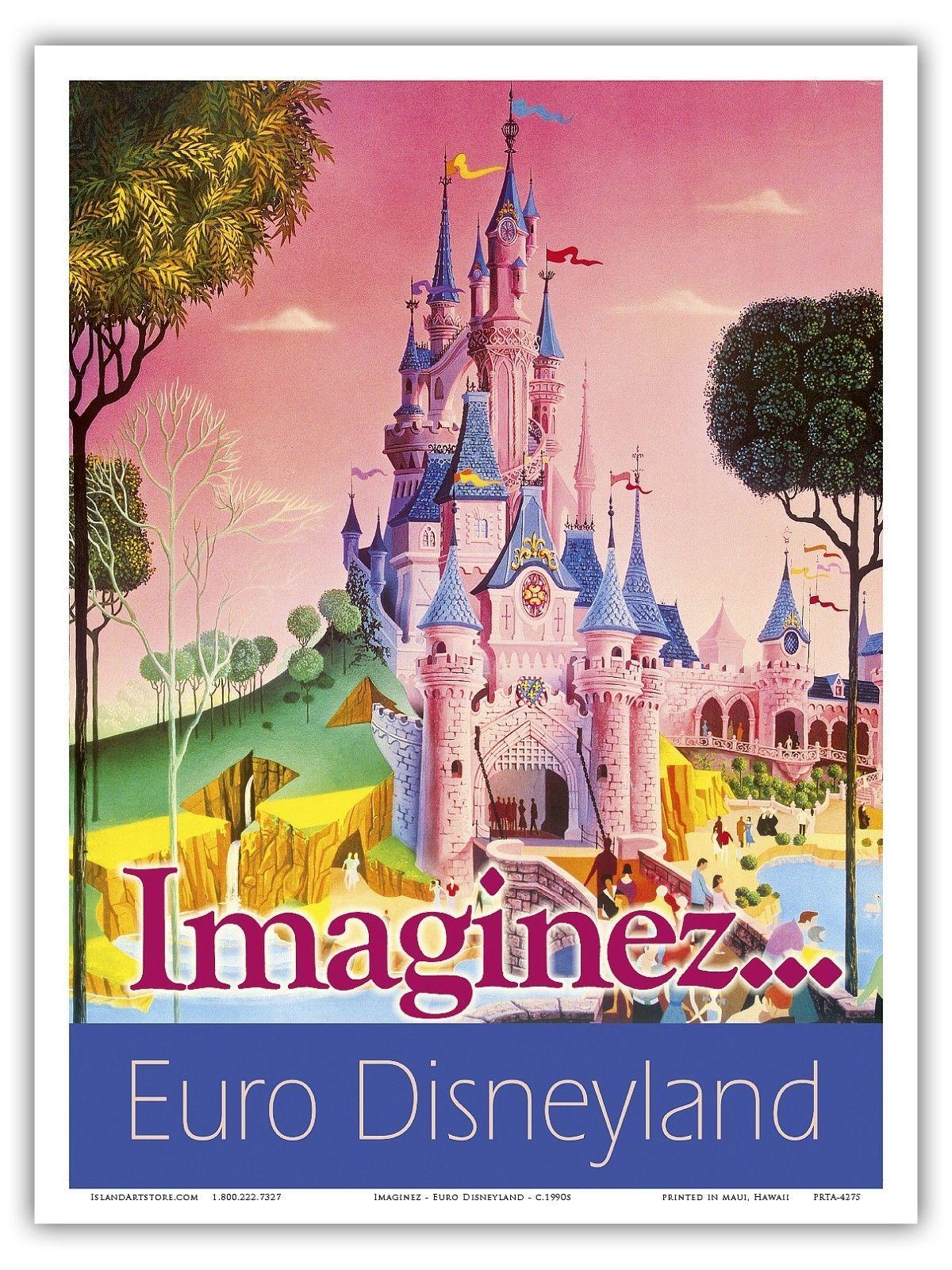 Euro Disneyland Paris France Vintage World Travel Art Poster Print