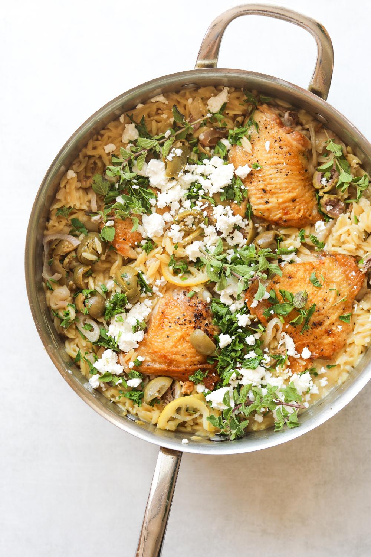 One Pot Chicken With Orzo Lemon And Feta Craving California Recipe One Pot Chicken Orzo Healthy Recipes
