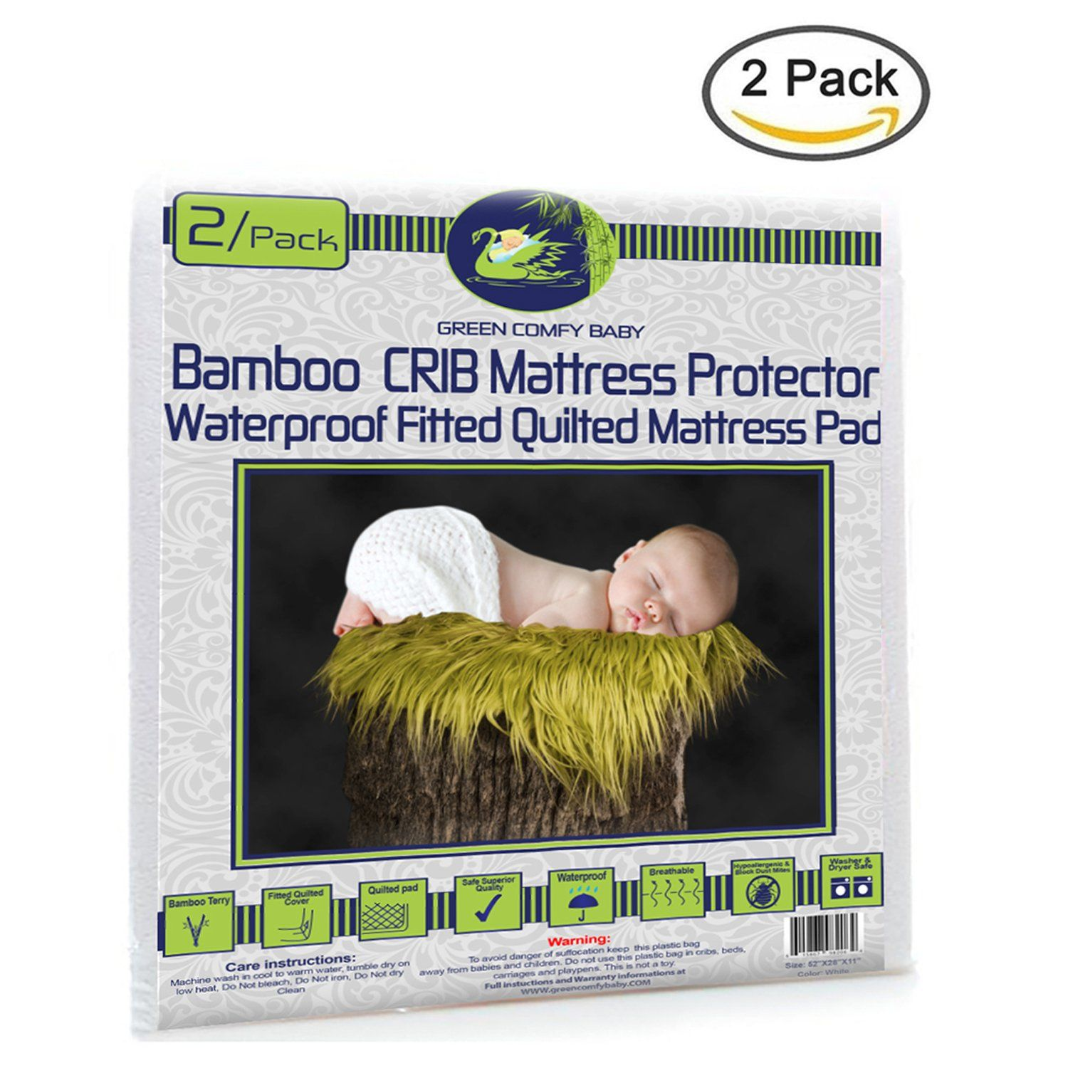 Crib Mattress Protector 2 Pack Organic Bamboo All In One Sheet