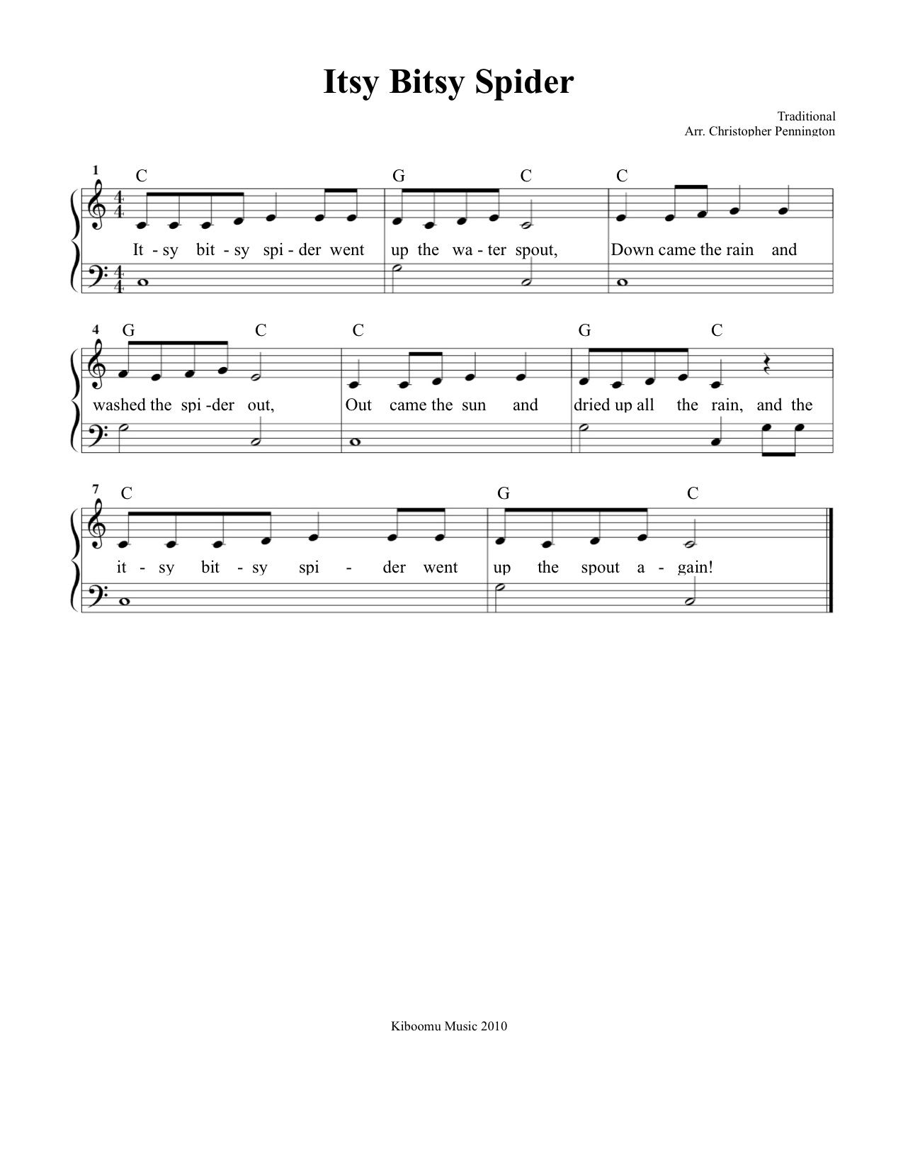 Free Sheet Music Itsy Bitsy Spider Sheet Music And Song For Kids