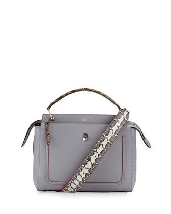 bddcfab723a4 Dotcom+Medium+Snakeskin-Trim+Satchel+Bag