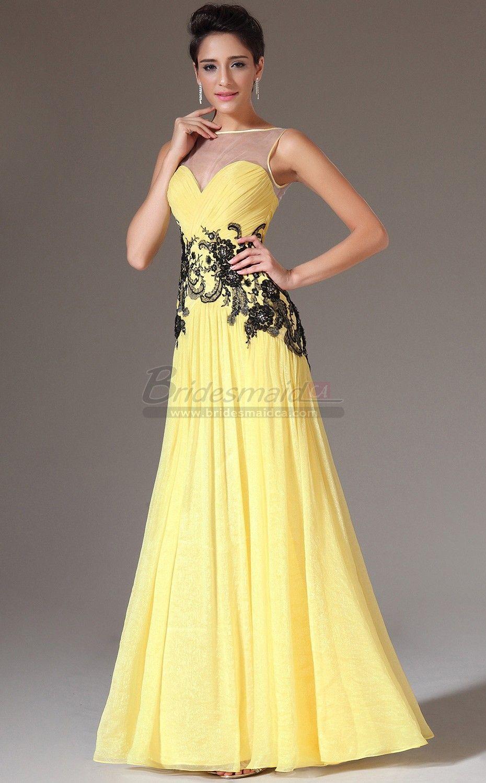 Bridesmaiddresses Bateau Neckline Long Chiffon Lace Yellow Empire Waist Bridesmaid Dress Jt Ca1404