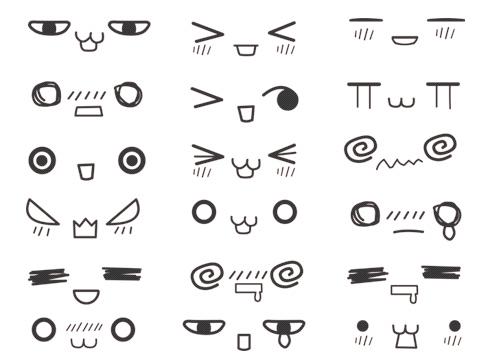 Inspiration Random Mix Of Kawaii Expressions Manga Art Drawing Faces