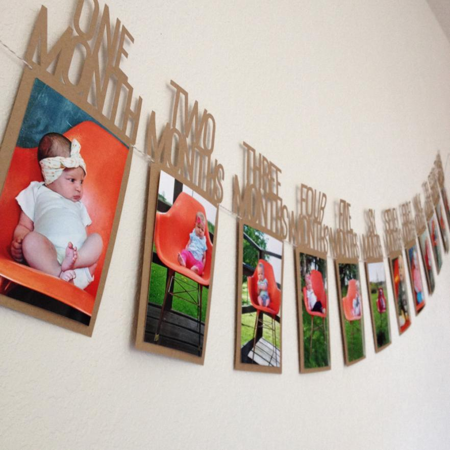 Kids Birthday Gift Decorations 1-12 Month Photo Banner Monthly Photo Wall Hot