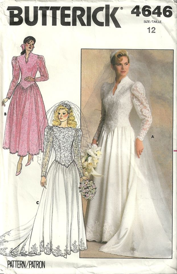 Butterick 4646 Vintage Bridal Bridesmaid Wedding Dress Gown Train Sewing Pattern Size 12