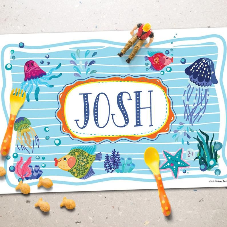 Under The Sea Personalized Placemat Kids Placemat Ocean Placemats Kids Washable Markers Placemats