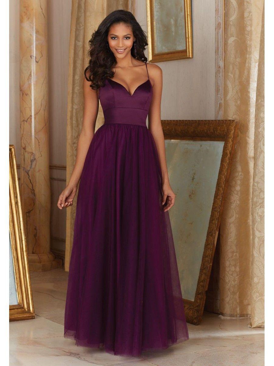 Affordable long purple spaghetti straps bridesmaid dresses