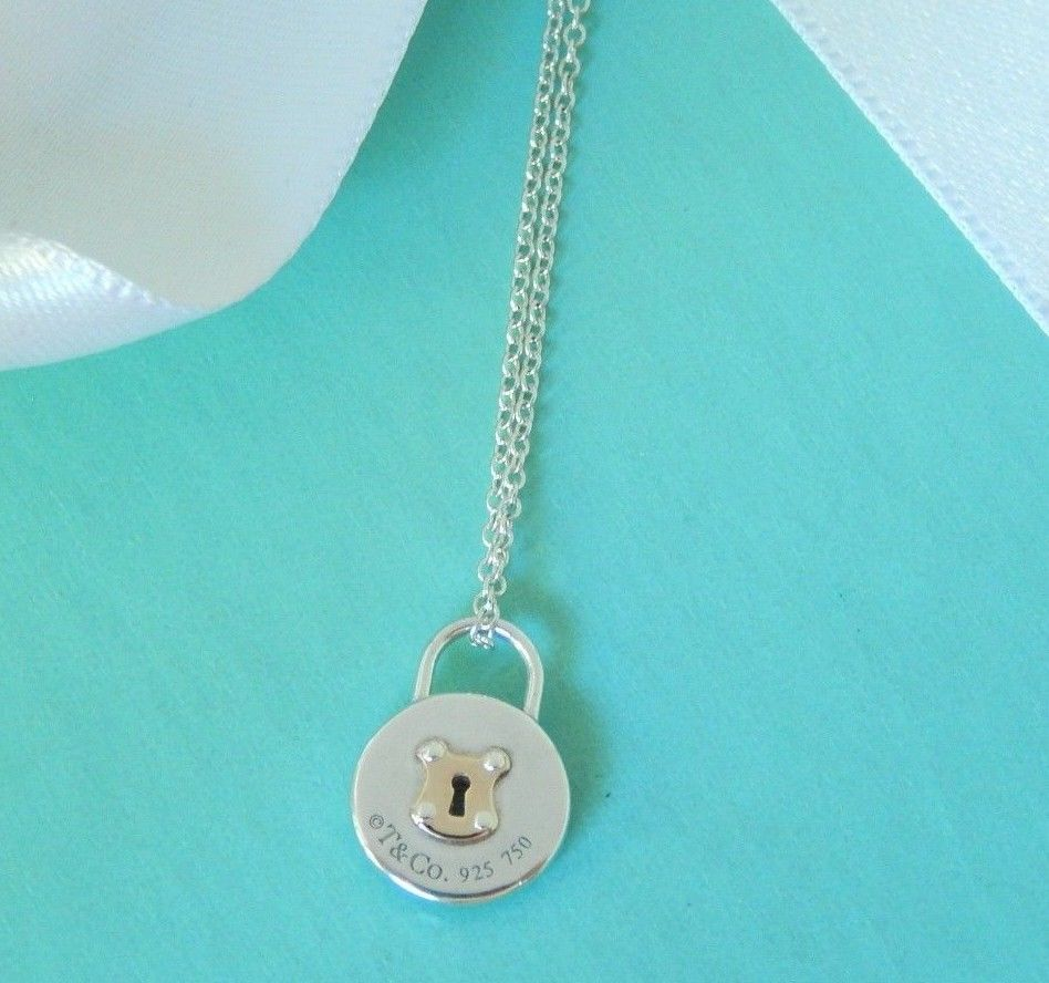 897dc74fb Tiffany & Co Silver 18k Rose Gold Mini Round Lock Charm Pendant Chain  Necklace #TiffanyCo #Pendant
