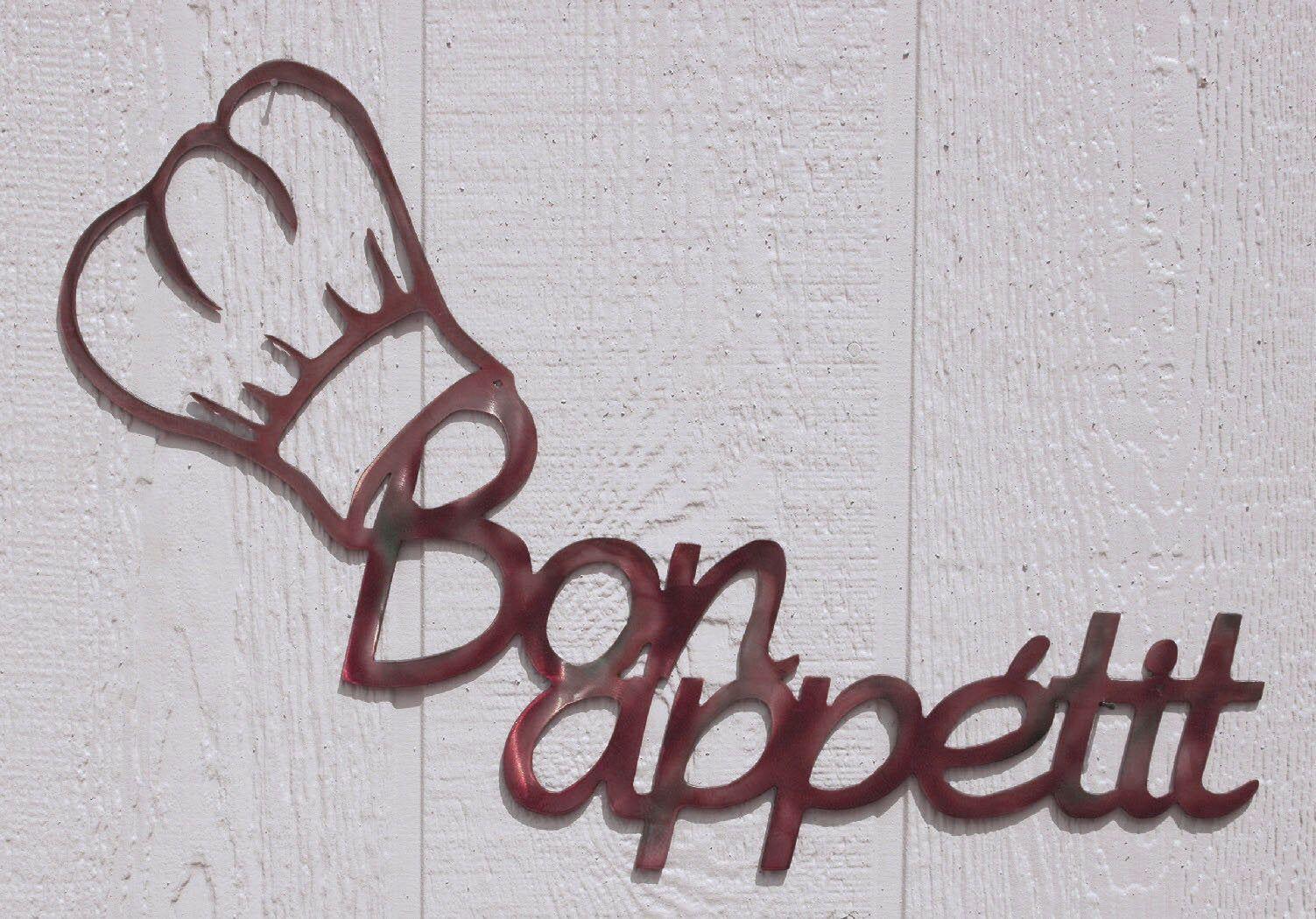 Bon Appetit Chef S Hat Toque Blanche Metal Wall Art Kitchen Decor