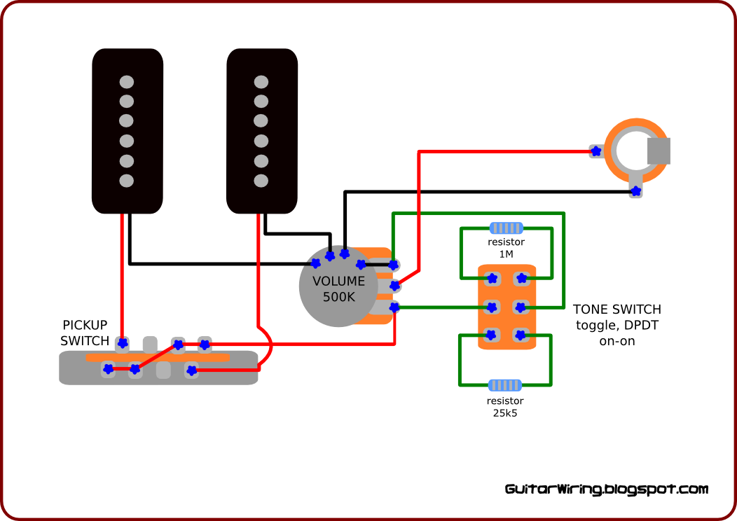 this guitar wiring is designed for use with p90 and similar output single coil to