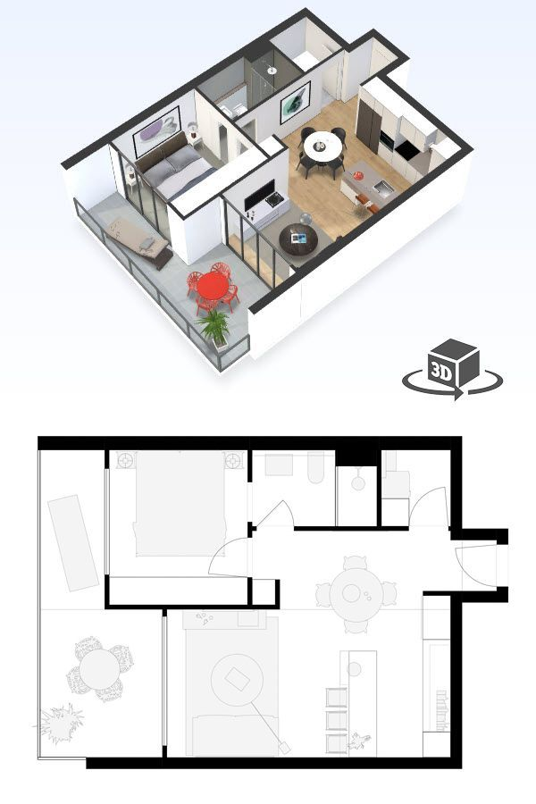 1 Bedroom Apartment Floor Plan In Interactive 3d Get Your Own 3d Model Today At Http Planto3d Small Apartment Floor Plans Floor Plan Design Apartment Layout