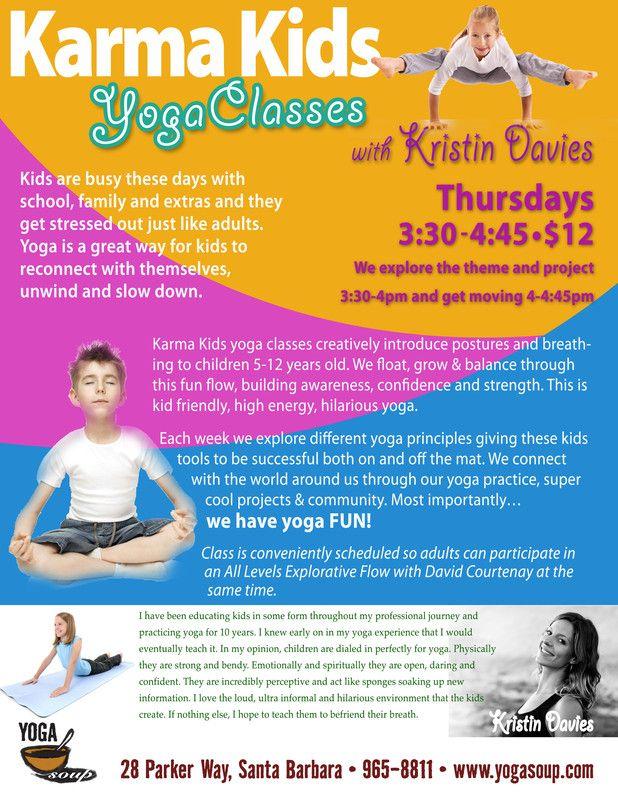 Santa Barbara, CA Karma Kids yoga classes creatively introduce - yoga flyer