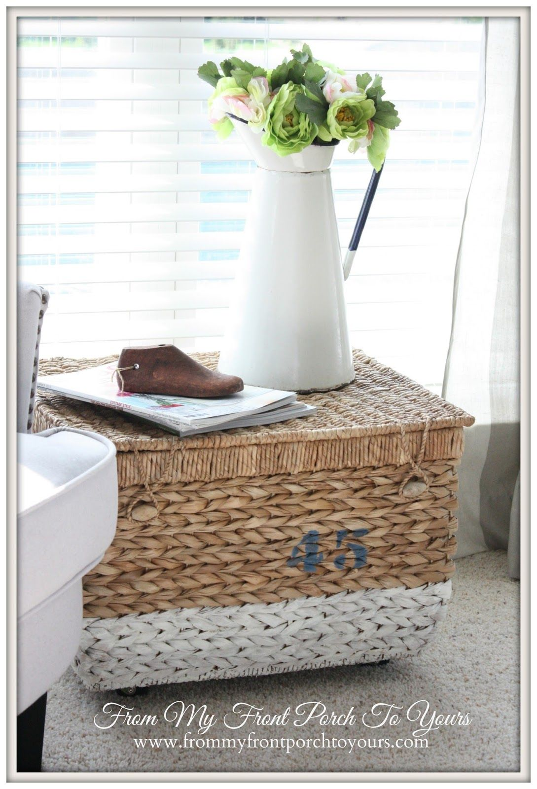 From My Front Porch To Yours Painted Basket With Added Casters Make A Little Side Table