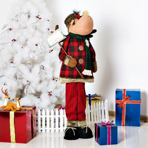 free standing christmas plush reindeer toy 155cm tall indoor holiday decoration smartdealsmarket