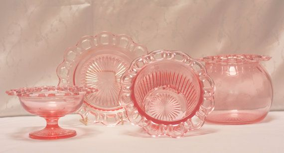 Pink Old Colony Open Lace Depression Glass by PurpleJammies, $20.00