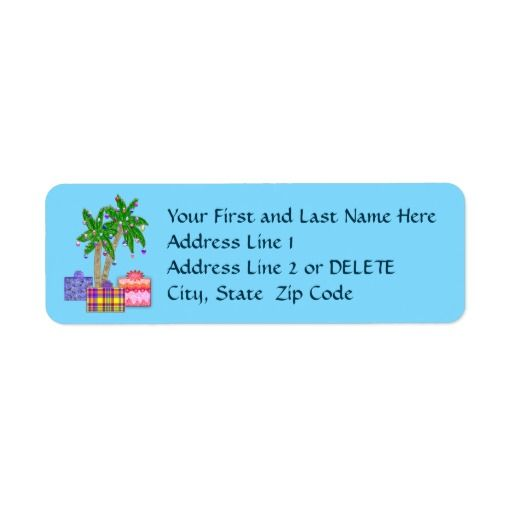 Palm Trees Christmas Tropical Address Labels | Beach