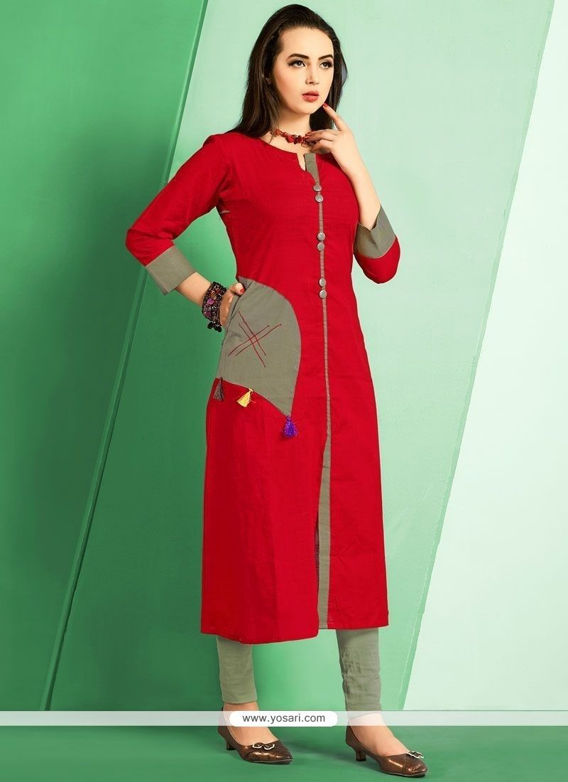 285b0e916 Cotton Plain Work Party Wear Kurti