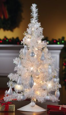 Lighted White Tinsel Tabletop Christmas Tree Found My For This Year Pretty And Affordable