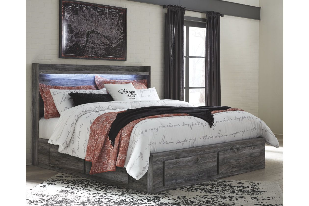baystorm queen panel bed with 6 storage drawers king beds bedroom sets sleigh set