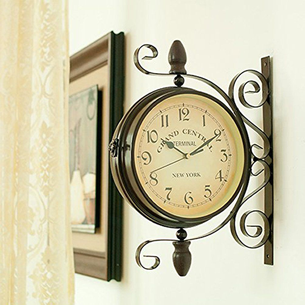Wrought Iron Vintageinspired Rotatable Double Sided Wall Clock ...