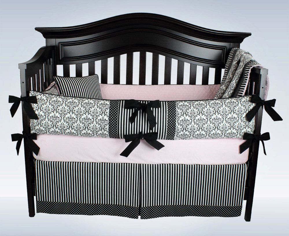Clearance Free Shipping Black And White Damask Baby Girl Bedding
