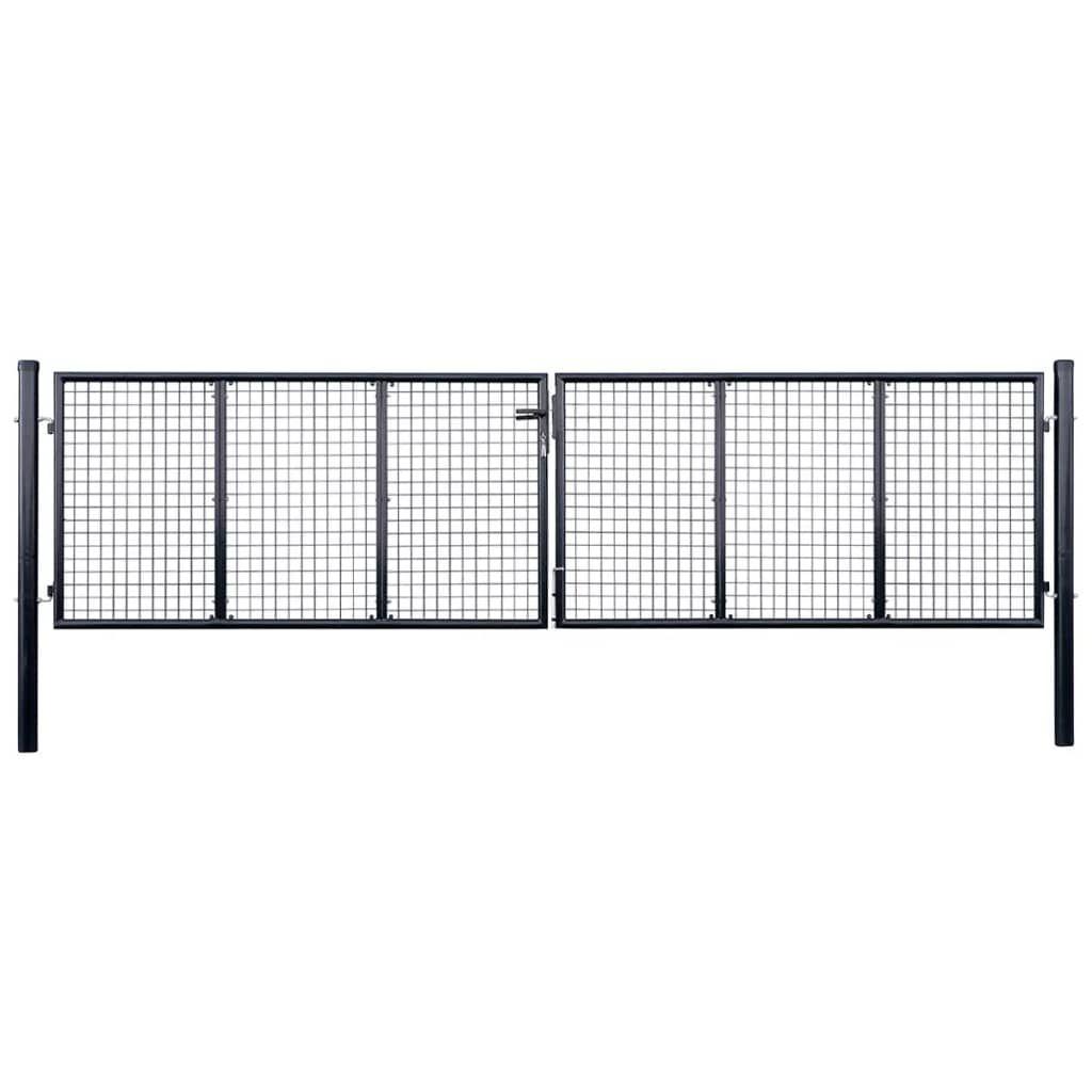 vidaXL Fence Door with Gray Mesh 400 x 75 cm. Galvanized.  …