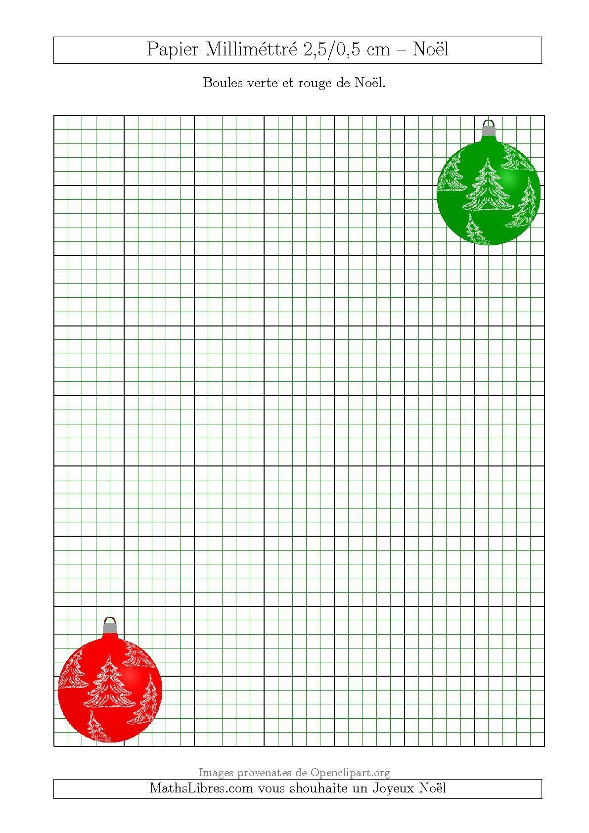 Papier Millimettre Avec Des Boules Rouge Et Verte 2 5 0 5