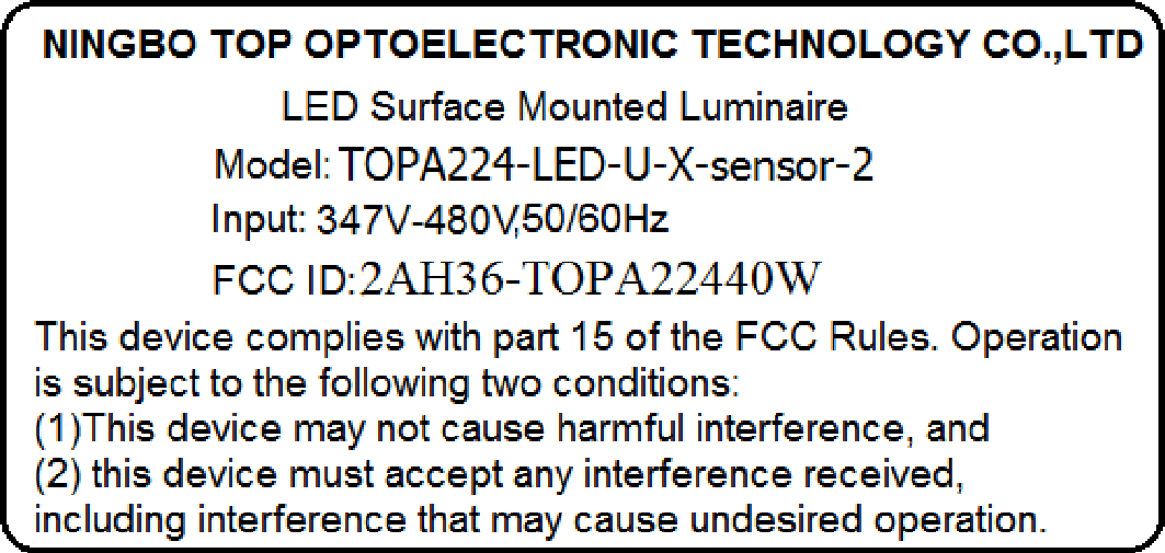 NINGBO TOP OPTOELECTRONIC TECHNOLOGY CO ,LTD LED Surface