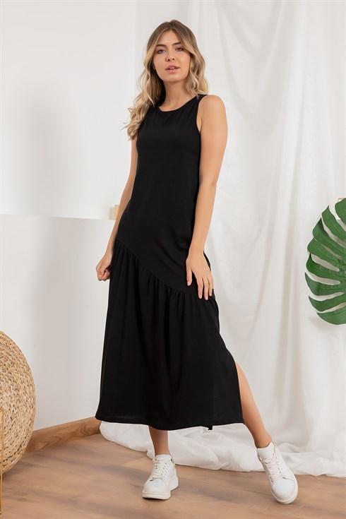 Asimetrik Yirtmacli Penye Elbise Siyah 2020 Elbise Elbise Modelleri Siyah