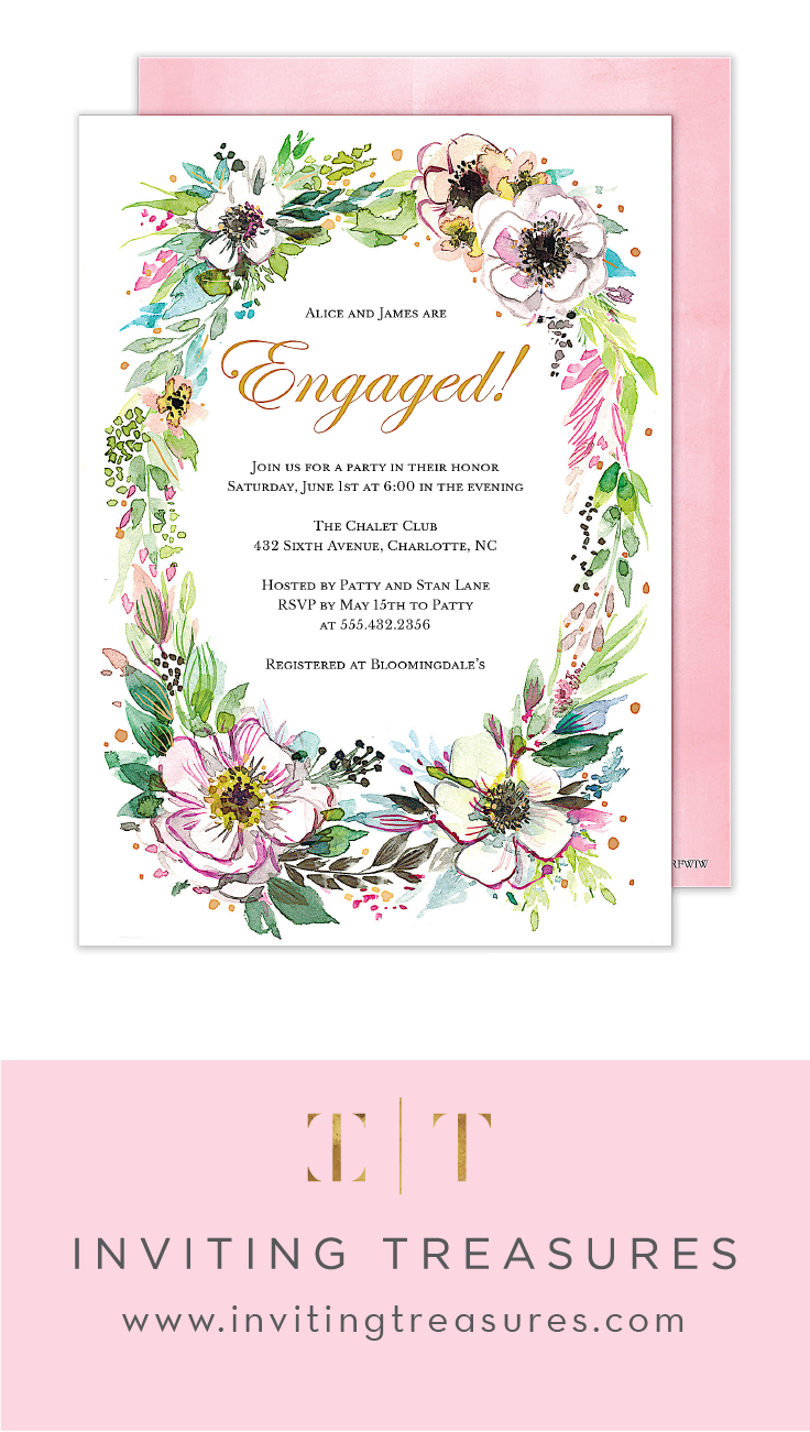 Wedding Engagement Invitations | Green, Blush, and Floral engagement ...