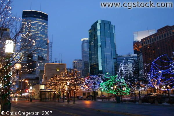 Christmas Lights on Nicollet Mall and Peavy Plaza, Minneapolis - Christmas Lights On Nicollet Mall And Peavy Plaza, Minneapolis