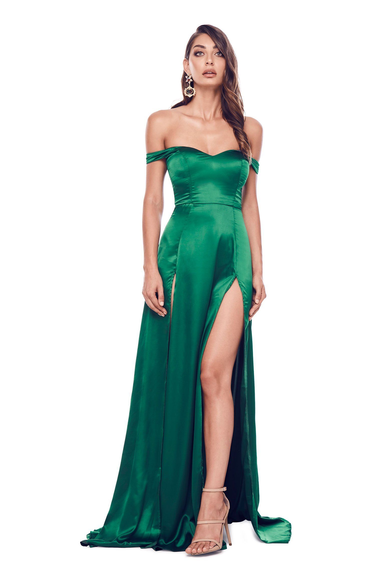 c83503103032 Create your own spotlight in the Emerald Florentina satin gown. Featuring a  sweetheart neckline, off the shoulder drapes, low back, two thigh-high  slits and ...