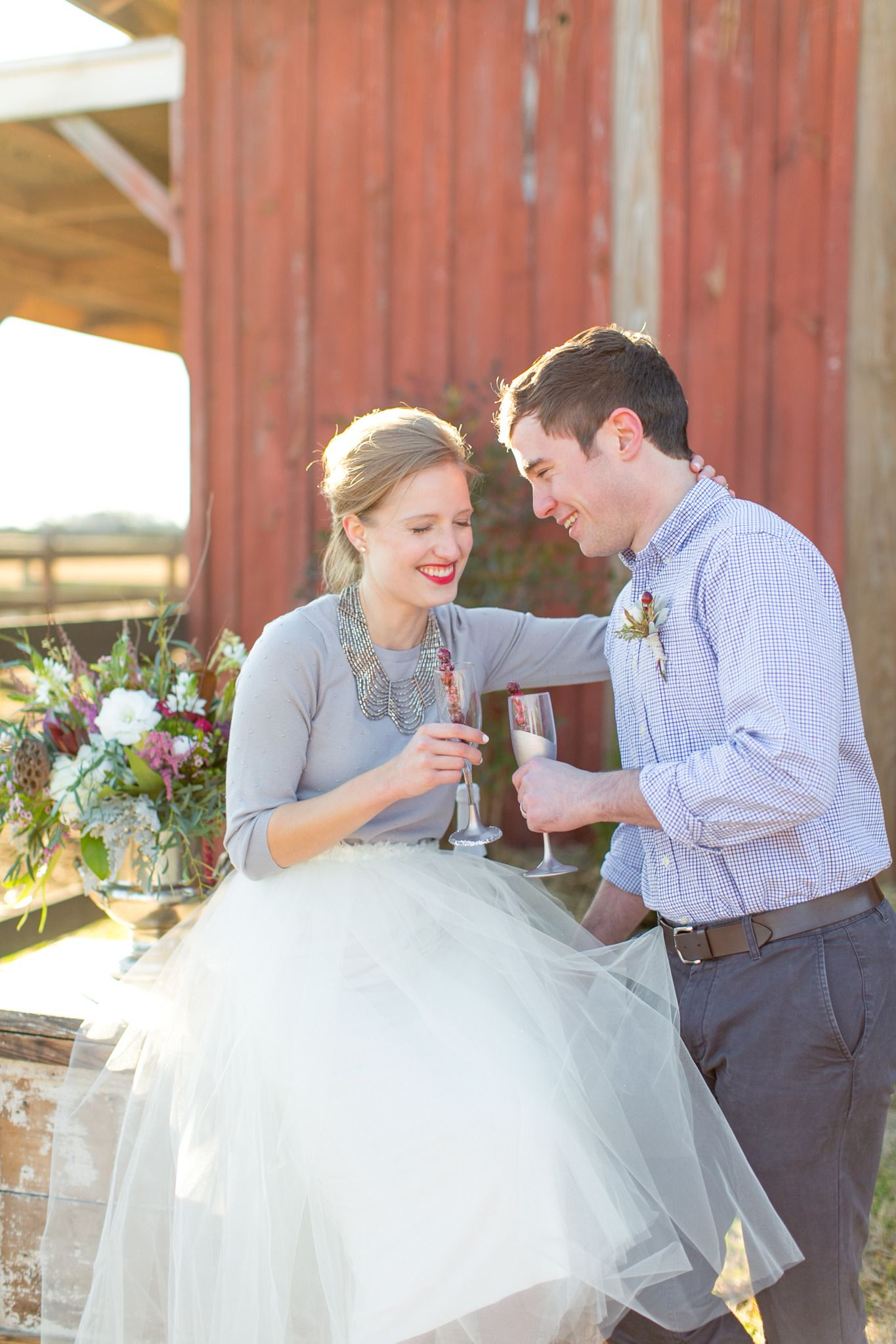 Love The Casual Sweater With A Tulle Skirt And Heels For Glam Elopement Courthouse