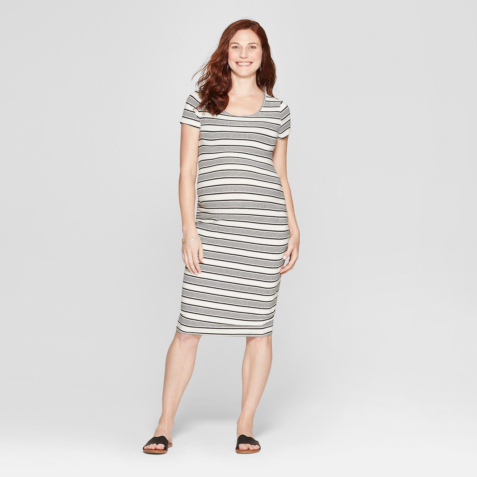 7098240932e Maternity Striped Short Sleeve Shirred T-Shirt Dress - Isabel Maternity by  Ingrid   Isabel