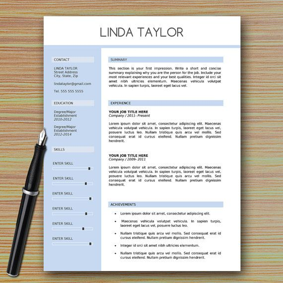 Professional Modern Resume Template for Microsoft Word + - resume template on microsoft word 2010