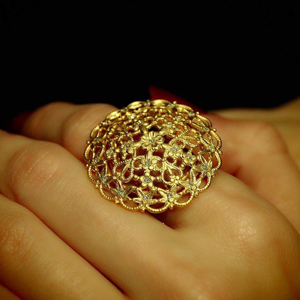 Queen of Sheba 18K Yellow Gold Diamond Shield Ring Plukka Shop
