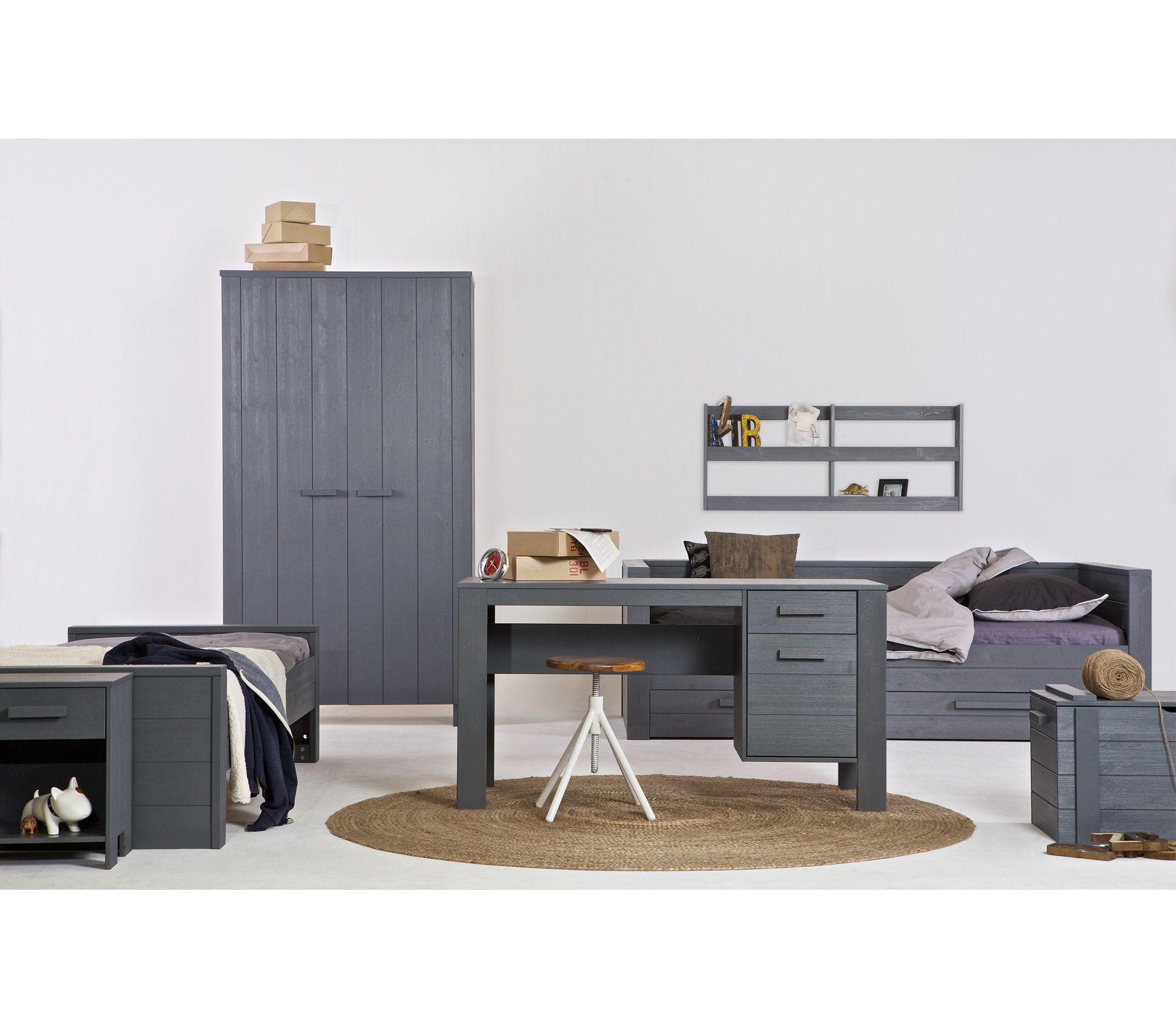 Voorbeeld van bedbank dennis met logeerbed staalgrijs woood kinderkamers pinterest - Kind mezzanine kantoor ...