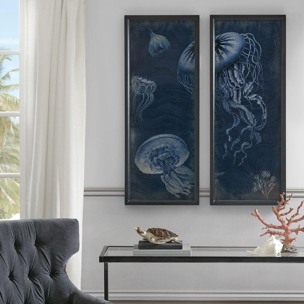 Madison Park Signature Jellyfish Wooden Wall Art With Graphics Set Of 2 Blue Wall Art Wall Art Sets Coastal Wall Art