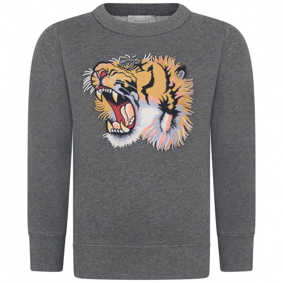 92cf118b7 GUCCI Boys Gray Tiger Sweatshirt | LC Boys Clothing and Gifts ...