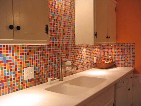 Fiesta Glass Tile Backsplash With Lots Of Red And Orange