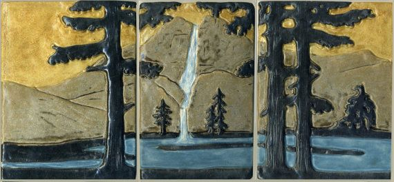 Two Tree Tiles with River and Mountain Wilderness Scene at Sunset Art Tiles 12 x 4- Craftsman Style Solitary Fir  Pine Tree Tile Set