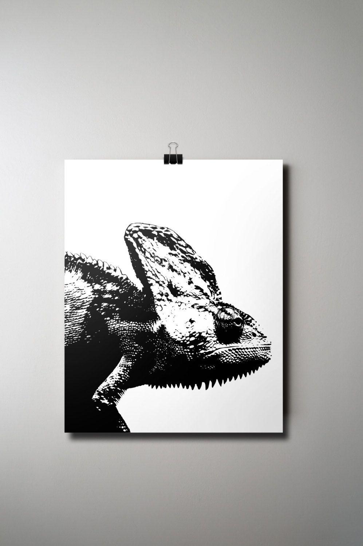 Chameleon Print Animal Poster Lizard Instant Black And White Decor 16 X 20 Exotic Modern By Olaholahola On