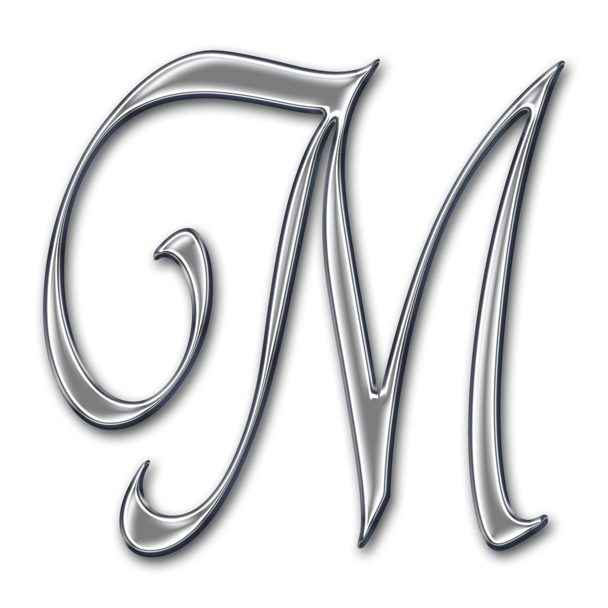 Chrome swirl alpha Fancy letter m, Fancy letters