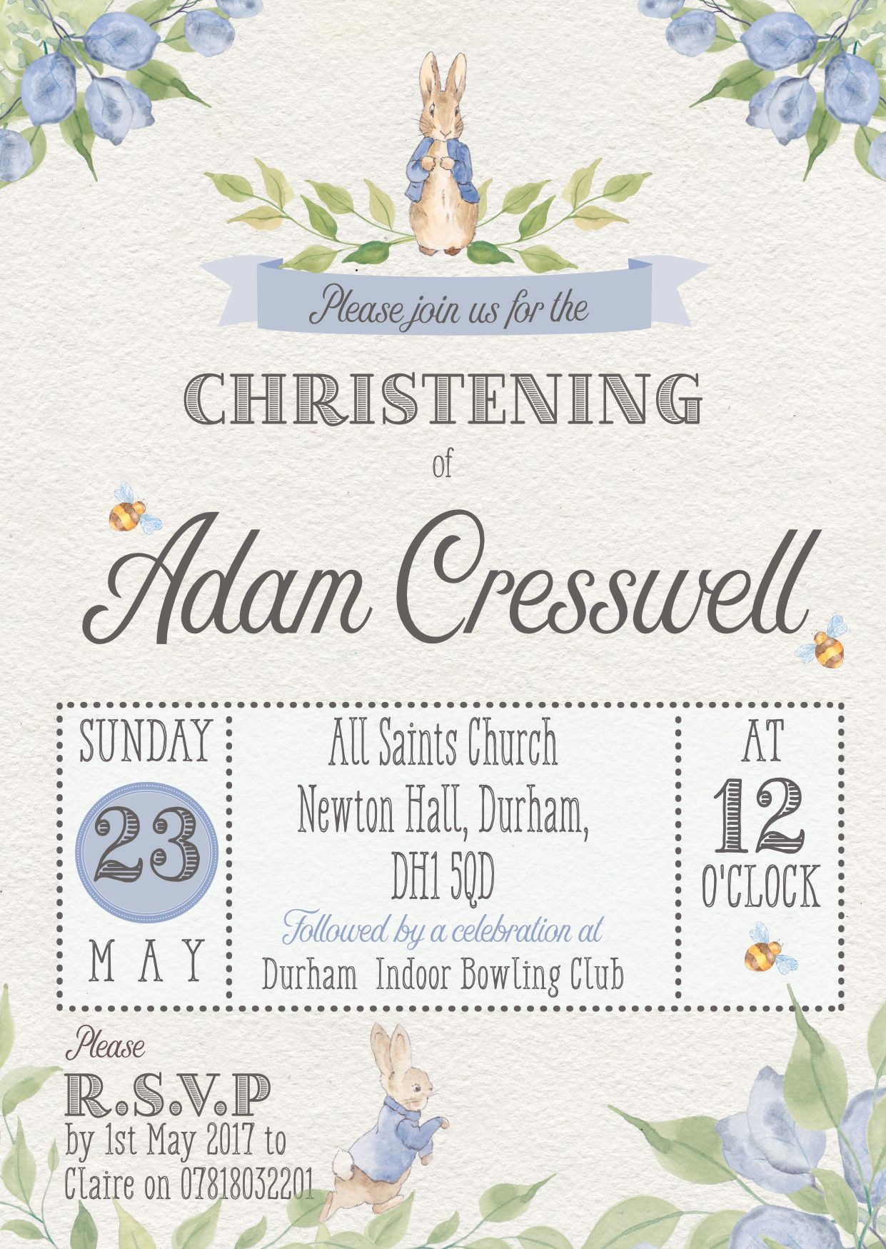 Peter Rabbit Christening Invitation Without Flower Christening In