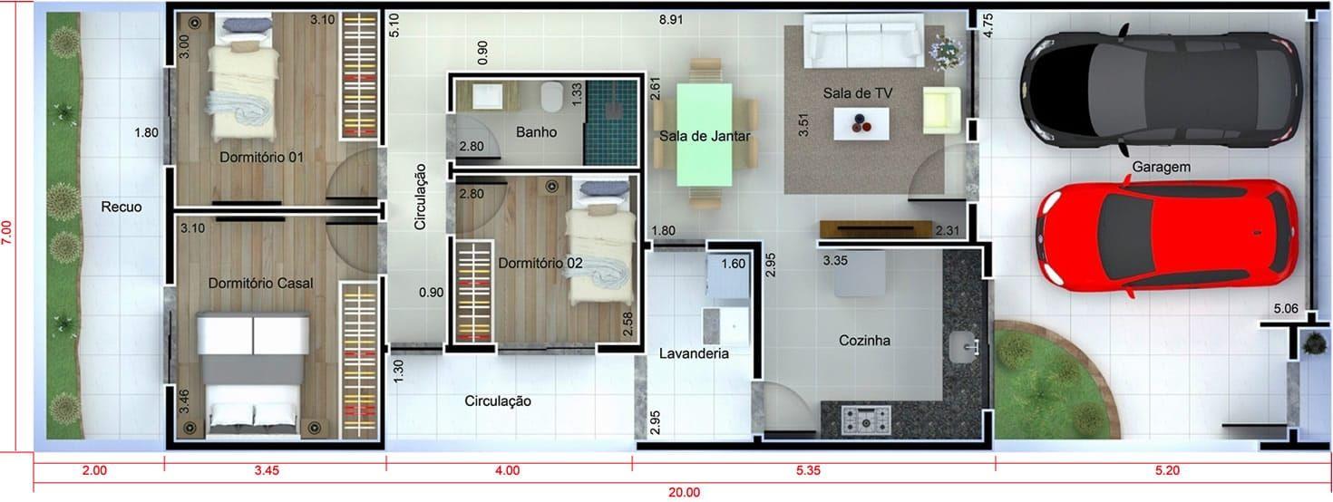 Casa con una fachada en blanco y negro plano para terreno for Casa moderna 7x20