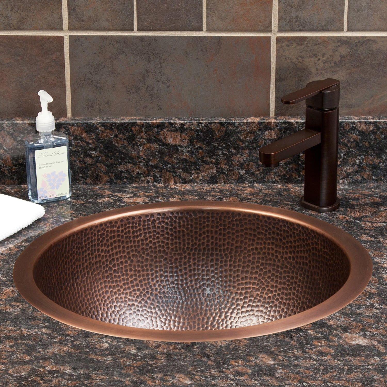 18 Baina Extra Deep Round Hammered Copper Sink Hammered Copper Sink Bathroom Copper Sink Bathroom Copper Sink