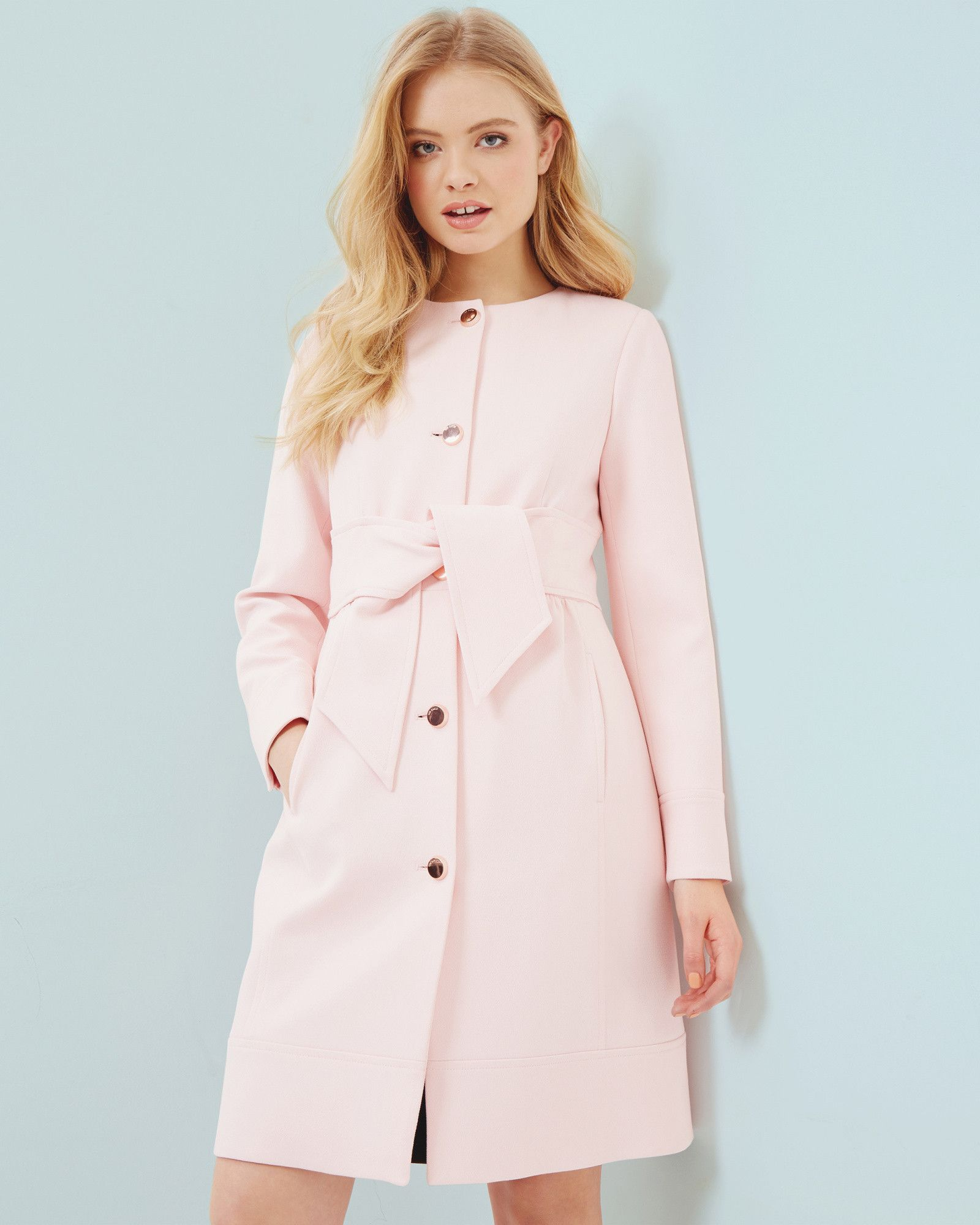 20f5c3dc5 Collarless belted coat - Baby Pink