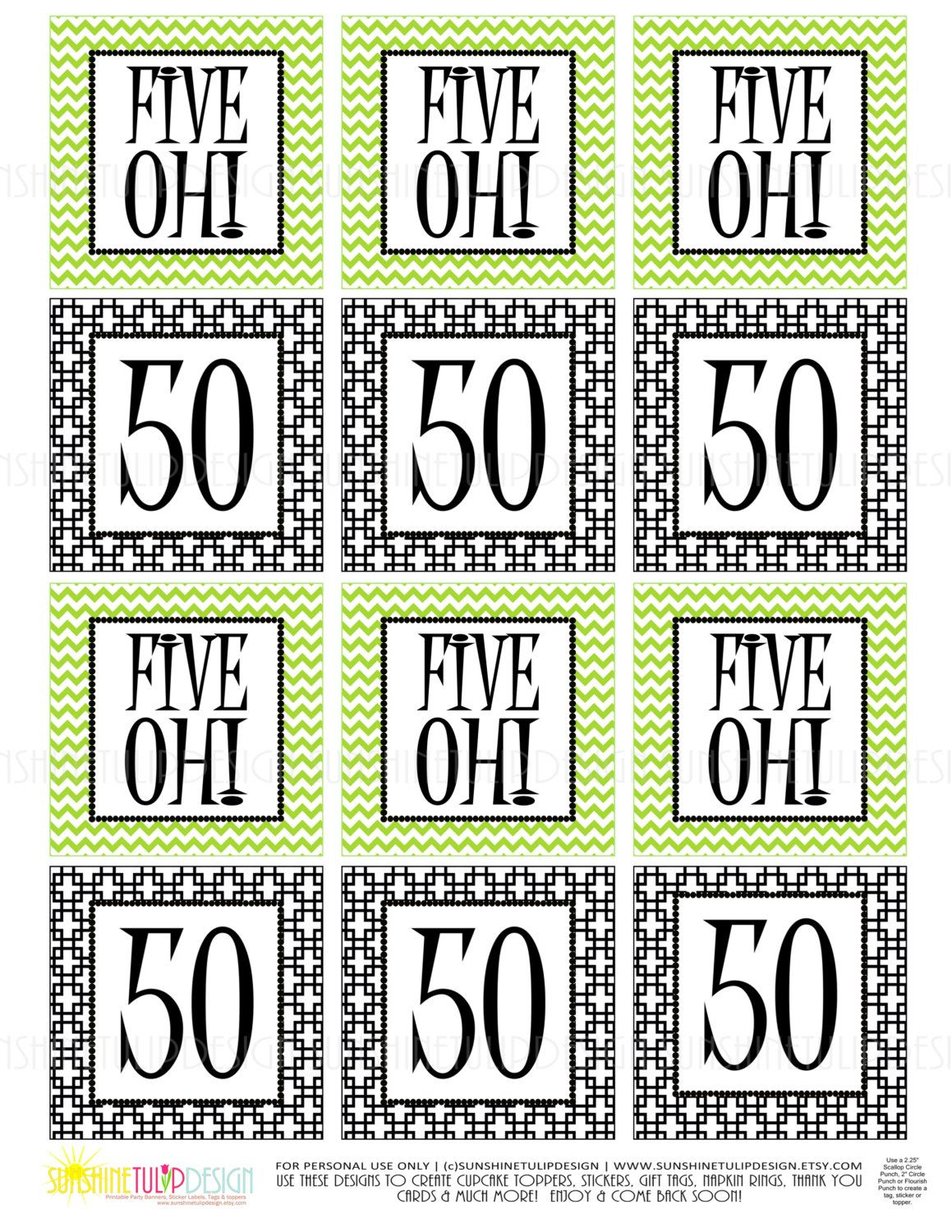 50th Birthday Five Oh Printable Gift Tags Cupcake Toppers Sticker Labels By SUNSHINETULIPDESIGN Sunshinetulipdesign On Etsy